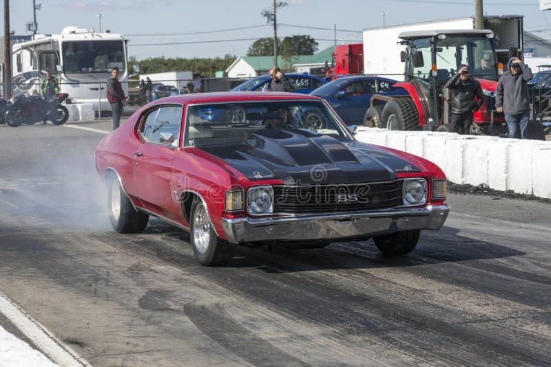 Chevelle sulla pista alla linea di partenza che fa un burnout immagine stock