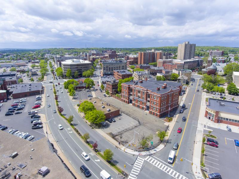 Cheverus School in Malden, Massachusetts, USA. Cheverus School aerial view on Centre Street in downtown Malden, Massachusetts, USA royalty free stock photo
