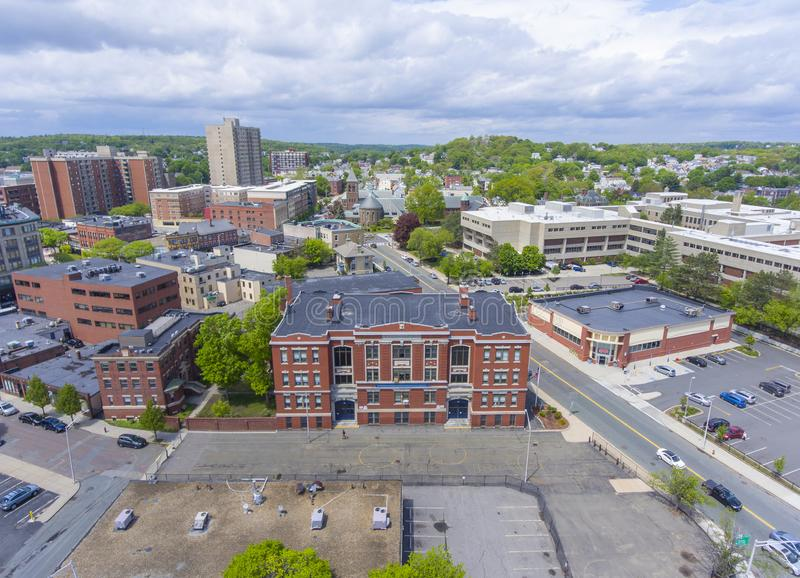 Cheverus School in Malden, Massachusetts, USA. Cheverus School aerial view on Centre Street in downtown Malden, Massachusetts, USA stock photography