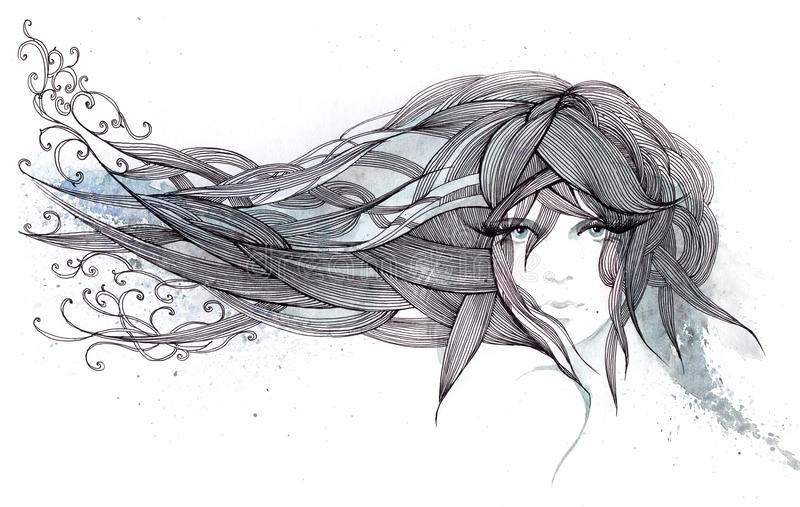 Cheveu dans le vent illustration stock