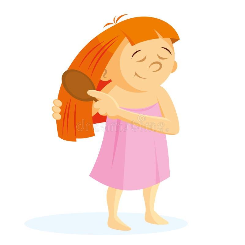 Cheveu de brossage de fille illustration libre de droits
