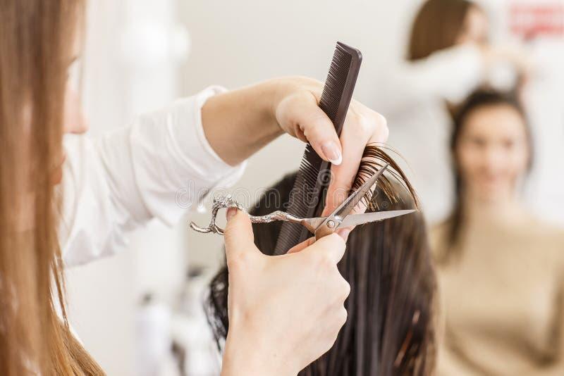 Cheveu de découpage de coiffeur Mains avec le peigne et les ciseaux photo libre de droits