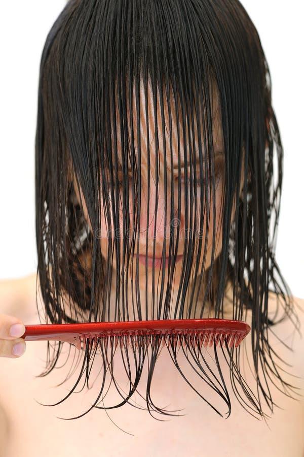 Cheveu humide dans le visage photos libres de droits