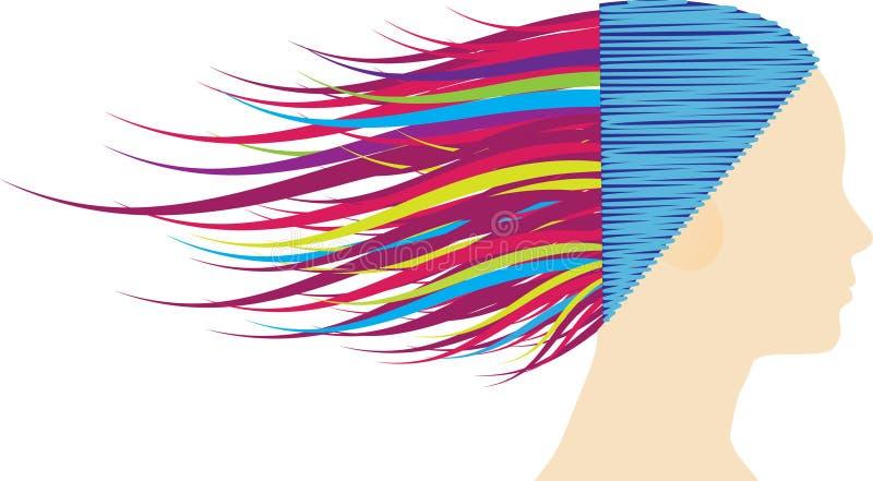 Cheveu ondulé coloré illustration stock