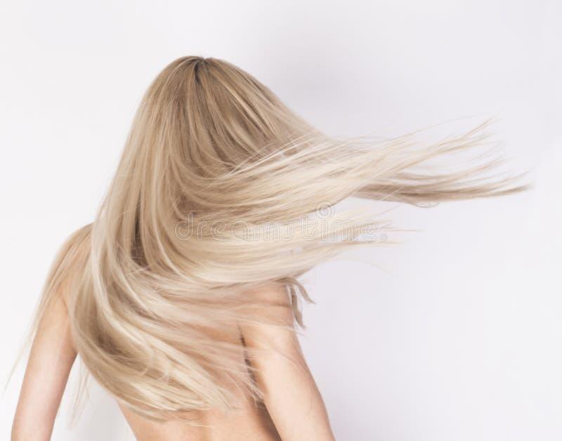 Cheveux blonds de long platine sain dans le mouvement photo libre de droits