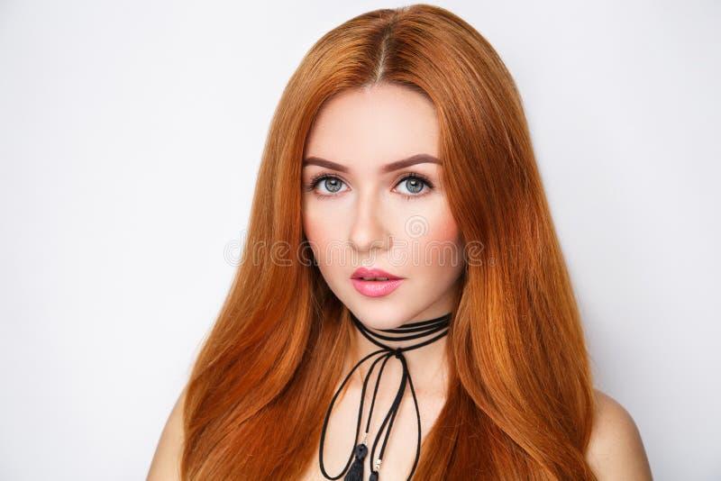 Cheveux d'orange de femme images stock