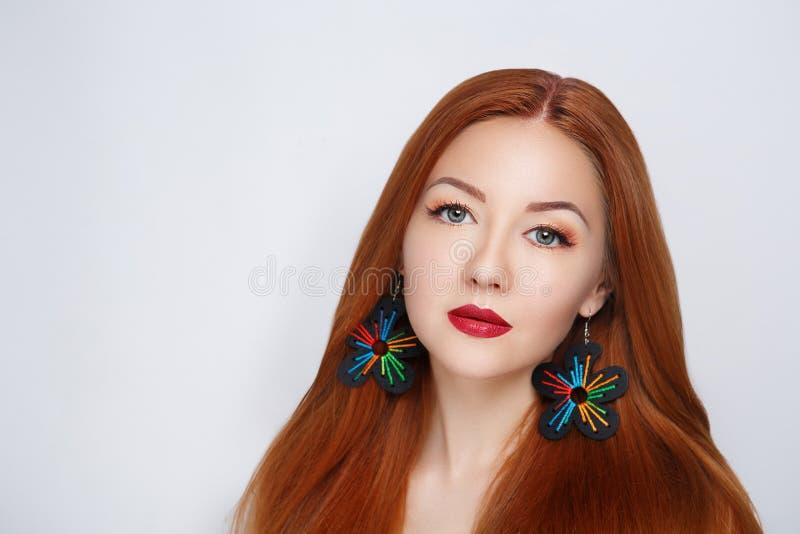 Cheveux d'orange de femme image stock