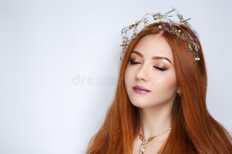 Cheveux d'orange de femme photos stock