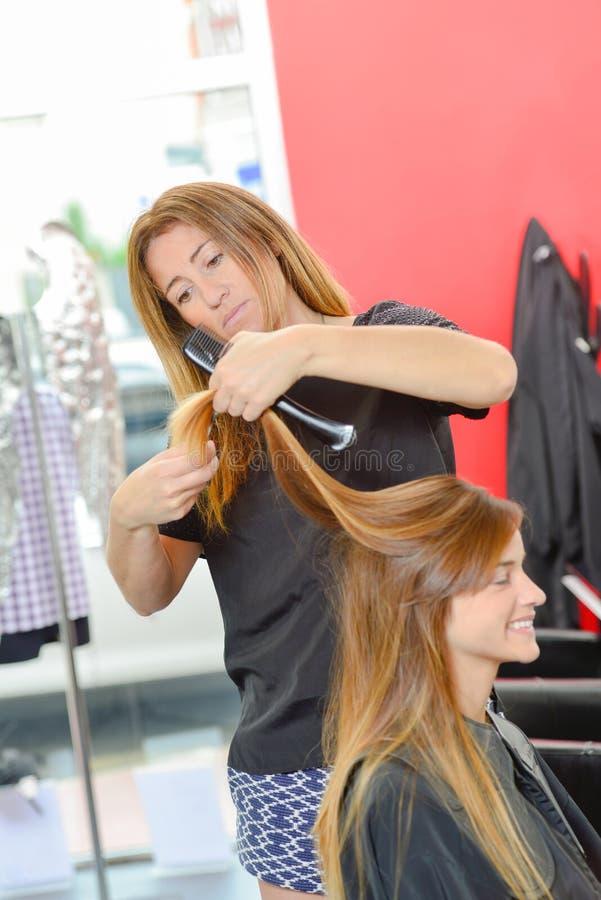 Cheveux de brossage de raboteuse de cheveux images libres de droits