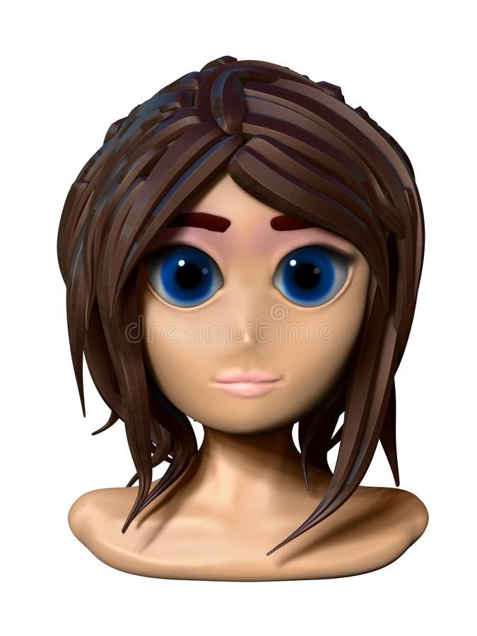 Cheveux de brun d'anime de visage de fille illustration stock