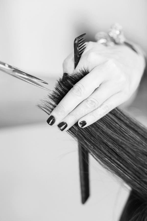 Cheveux de coupe de styliste en coiffure de client féminin images stock