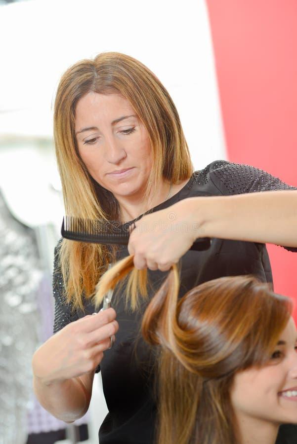 Cheveux de dames de règlage de coiffeur images libres de droits