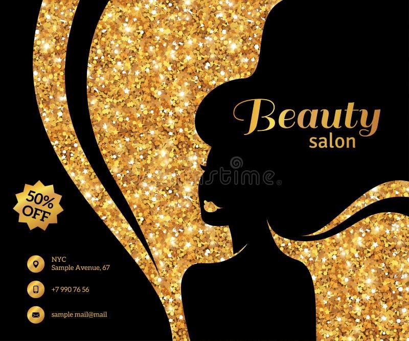Cheveux de femme de mode de noir et d'insecte d'or longs illustration stock