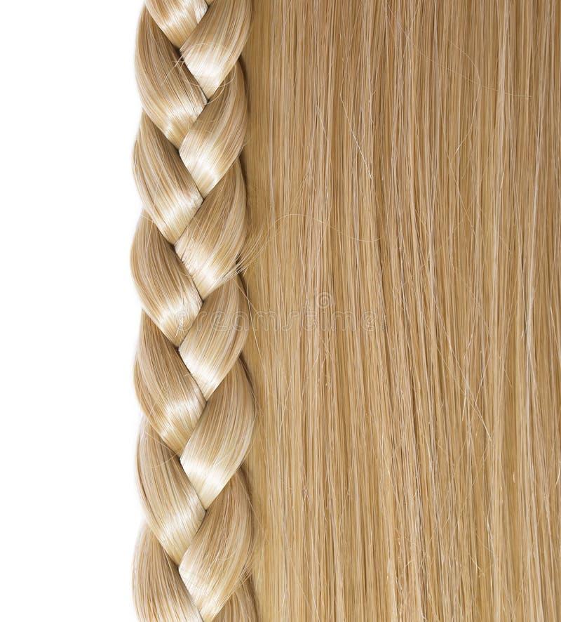Cheveux droits blonds et tresse ou tresse d'isolement images libres de droits