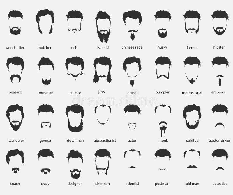 Cheveux et barbes de différentes fois illustration stock