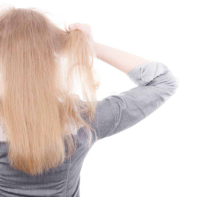 Cheveux furieux de traction de femme hors de tête image libre de droits