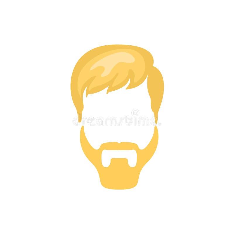 Cheveux masculins de hippie et style facial avec la barbe de Ducktail illustration libre de droits