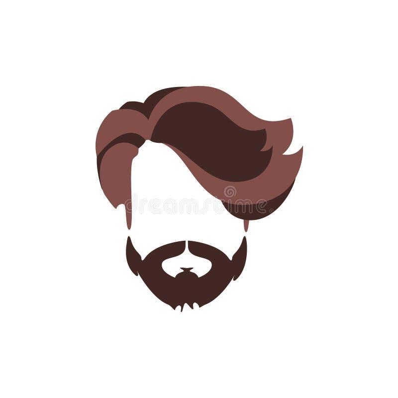 Cheveux masculins de hippie et style facial avec la frange de volume illustration de vecteur