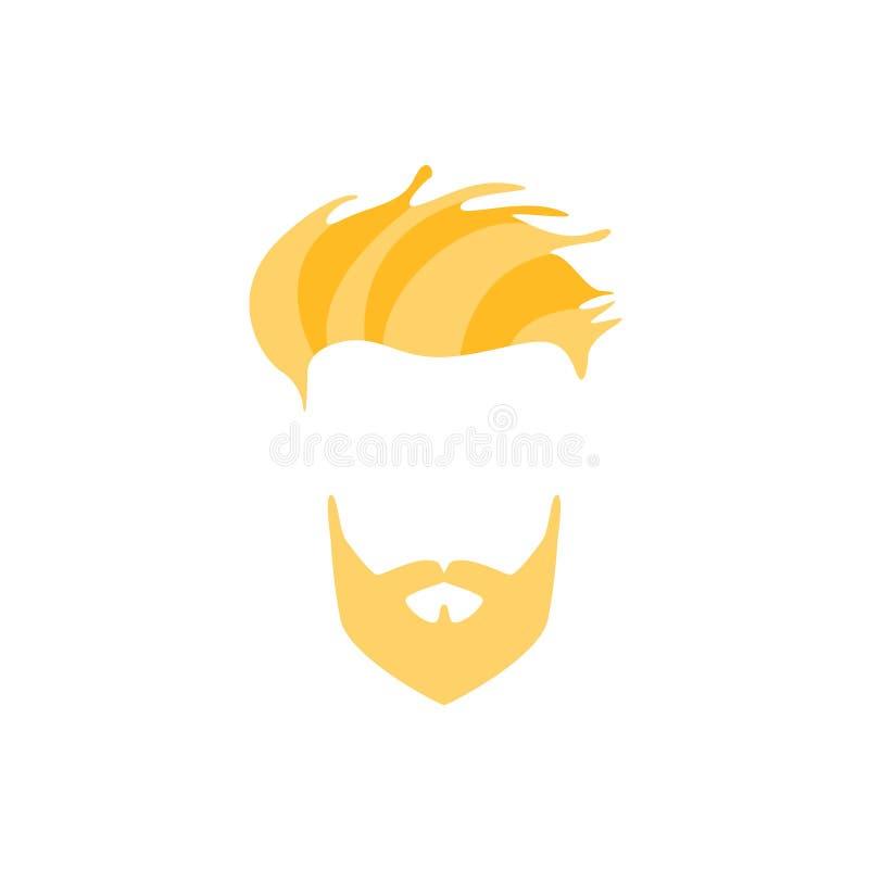 Cheveux masculins de hippie et style facial avec la pleine frange blonde de côté de barbe illustration de vecteur