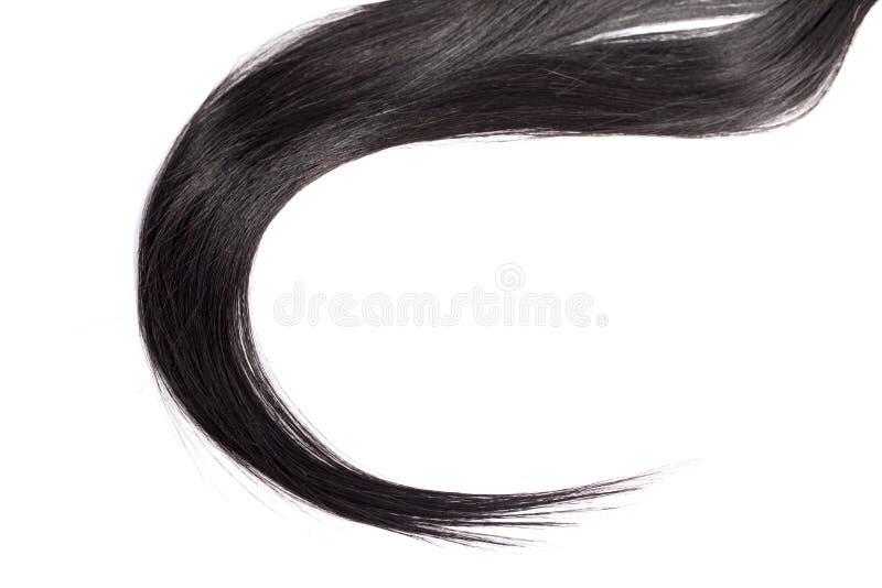 Cheveux noirs d'isolement sur le blanc photos stock
