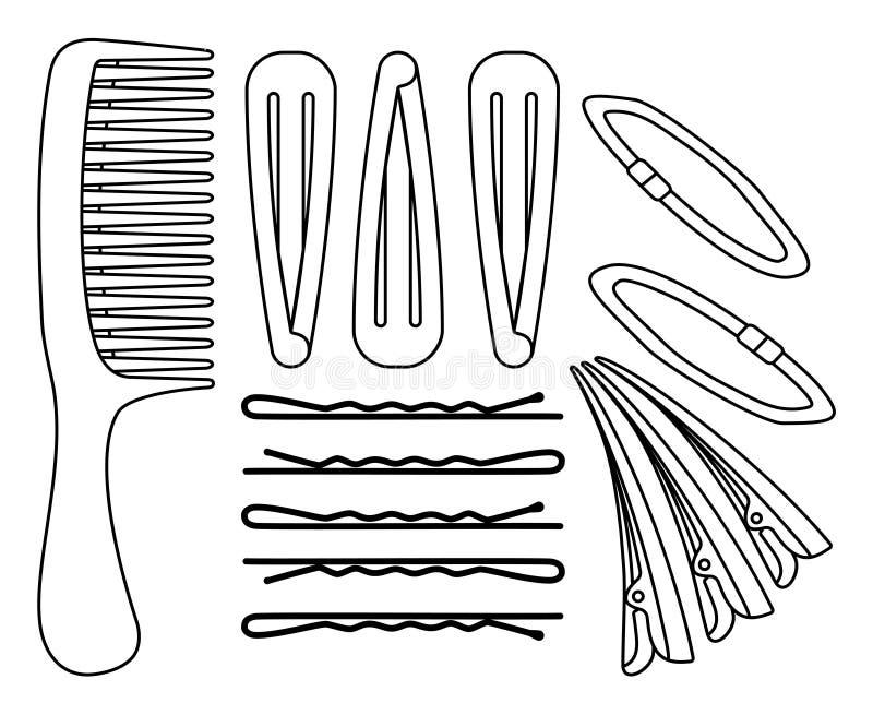 Cheveux noirs et blancs de schéma dénommant l'ensemble illustration libre de droits