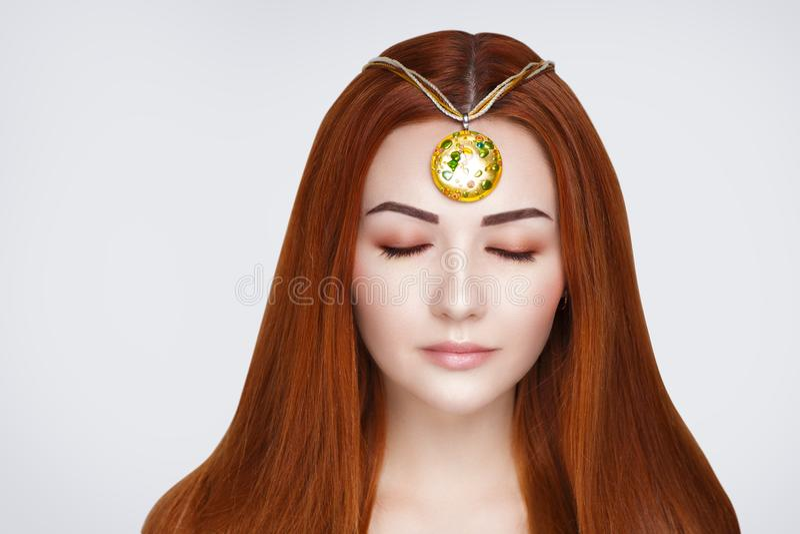 Cheveux oranges lumineux images stock