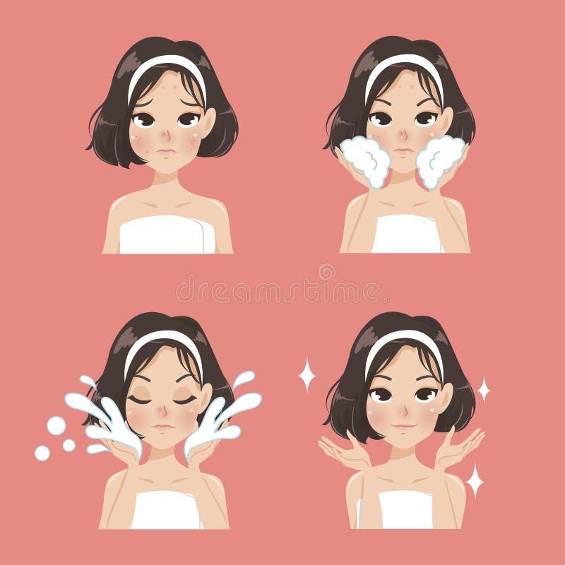 Cheveux propres de tir de fille de visage d'acné illustration de vecteur