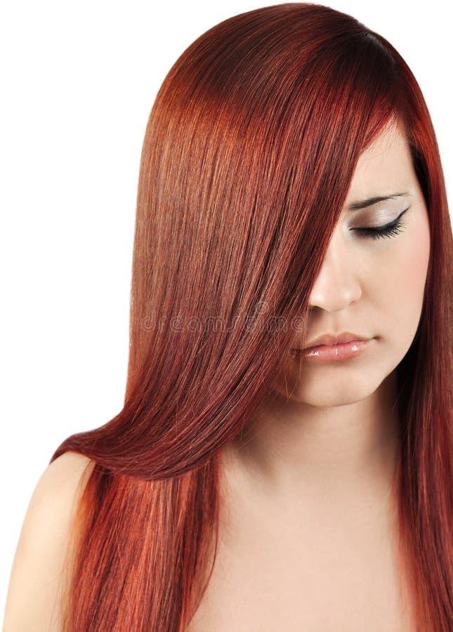 Cheveux rouges droits photo libre de droits