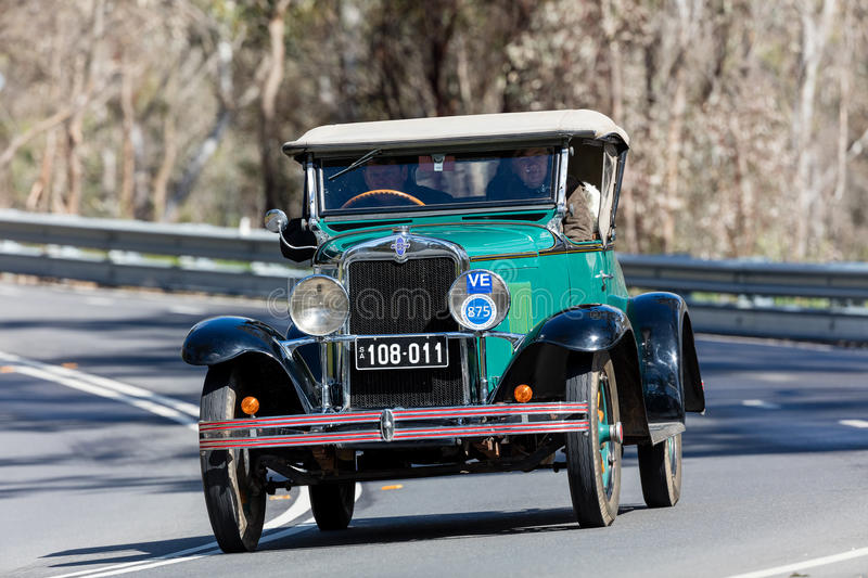 1929 Chevrolet AC Roadster. Adelaide, Australia - September 25, 2016: Vintage 1929 Chevrolet AC Roadster driving on country roads near the town of Birdwood royalty free stock images