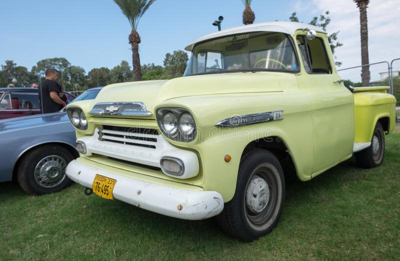 Chevrolet Apache classic pickup truck presented on annual oldtimer car show, Israel stock images