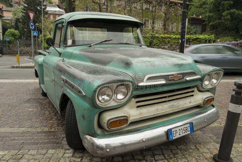 Chevrolet Apache Retro car in the center of Bergamo, Italy stock photos