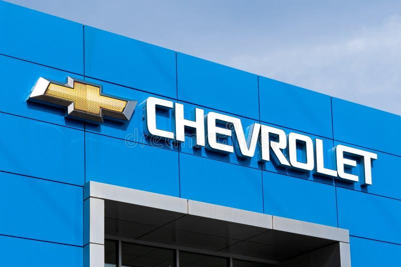 Chevrolet-Automobil-Verkaufsstelle und Logo des eingetragenen Warenzeichens lizenzfreies stockbild