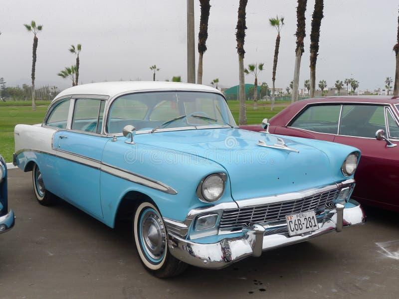 Chevrolet Bel Air Coupe stelde in Chorrillos, Lima tentoon stock fotografie
