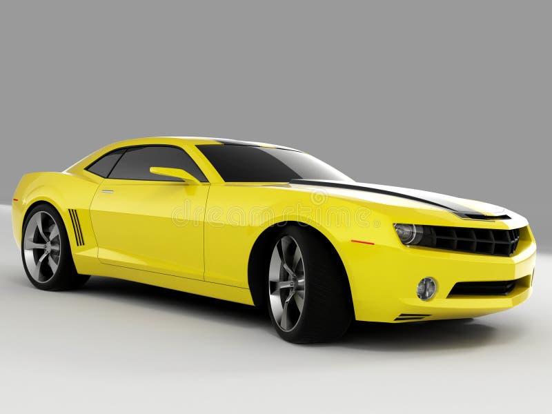 Chevrolet Camaro Concept 2009. Realistic render three-dimensional model of the yellow Chevrolet Camaro Concept 2009 royalty free stock photos