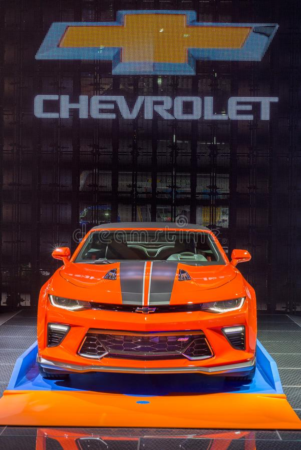 2018 Chevrolet Camaro Hot Wheels 50th Anniversary Edition, NAIAS. DETROIT, MI/USA - JANUARY 15, 2018: A 2018 Chevrolet Camaro Hot Wheels 50th Anniversary Edition stock image