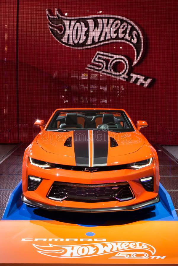 2018 Chevrolet Camaro Hot Wheels 50th Anniversary Edition, NAIAS. DETROIT, MI/USA - JANUARY 17, 2018: A 2018 Chevrolet Camaro Hot Wheels 50th Anniversary Edition royalty free stock images