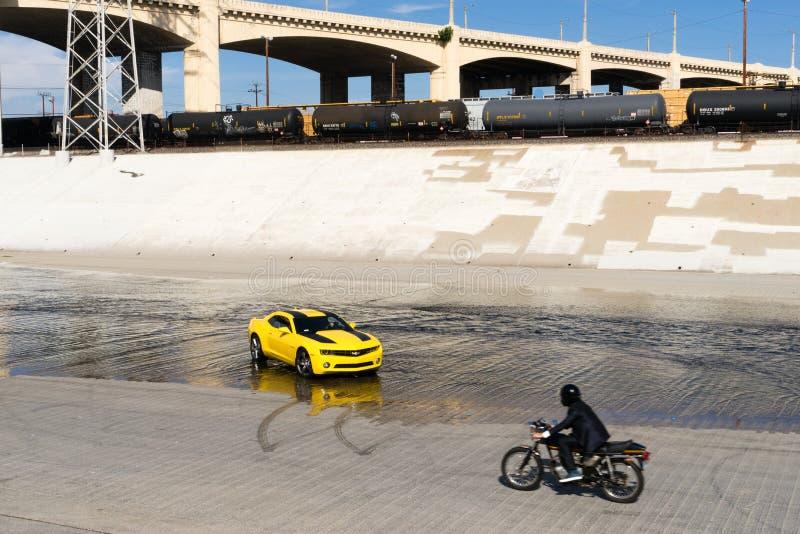 Chevrolet Camaro in Los Angeles river. stock photo