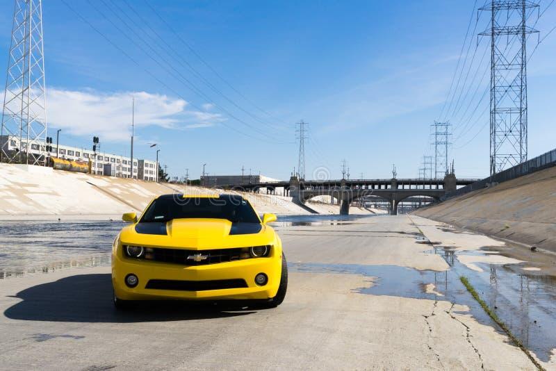 Chevrolet Camaro in Los Angeles river. stock photography