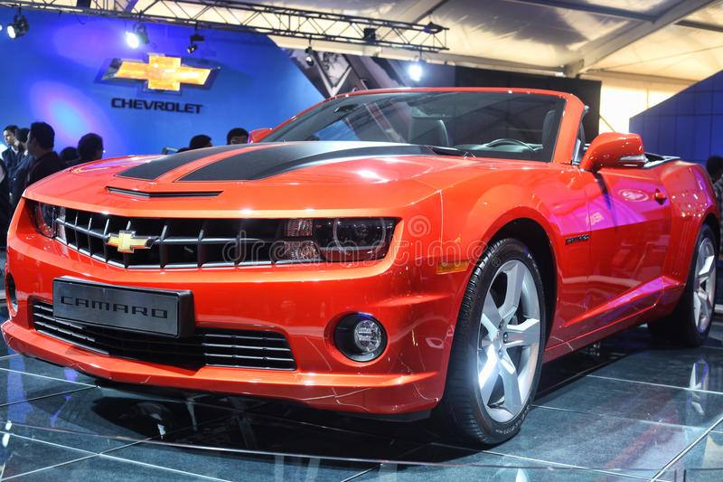 Chevrolet Camaro Roadster. Displayed at the Auto Expo 2012 in New Delhi stock photos