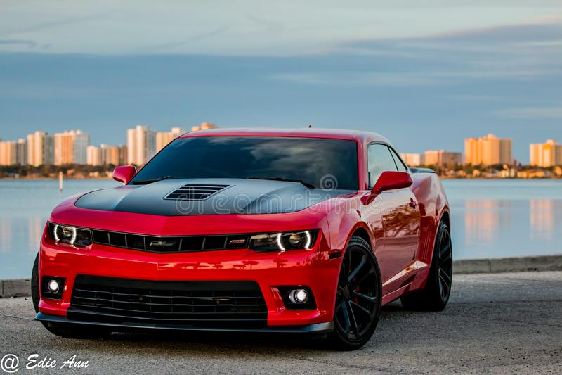 Chevrolet Camaro vermelho e preto brilhante foto de stock