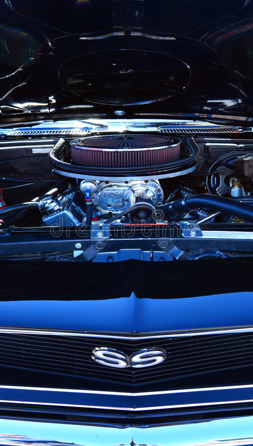 Chevrolet Camero SS engine in a Public US classic muscle car show stock photos