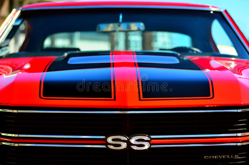Chevrolet Camero SS front in a Public US classic muscle car show royalty free stock photography