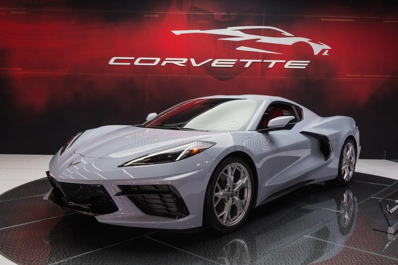 Chevrolet Corvette C8 on display during Los Angeles Auto Show stock image