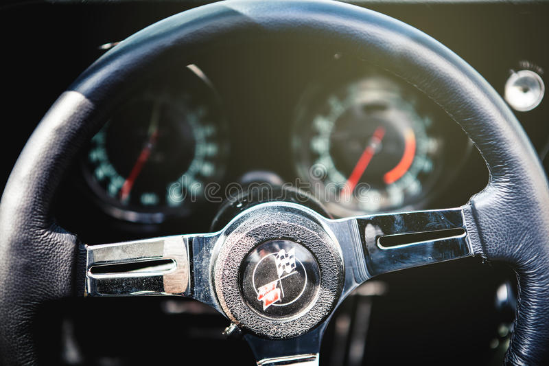 Chevrolet Corvette C3 steering wheel. stock photography