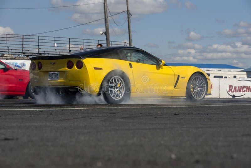 Chevrolet Corvette sulla pista che fa un burnout immagine stock libera da diritti