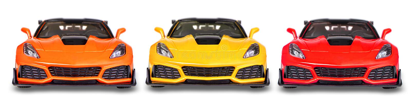 Chevrolet Corvette, In Tre Colori Diversi, Giallo, Arancione E Rosso immagine stock libera da diritti