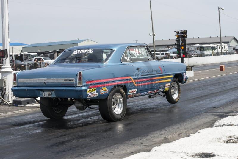 Chevrolet drag car start stock photos