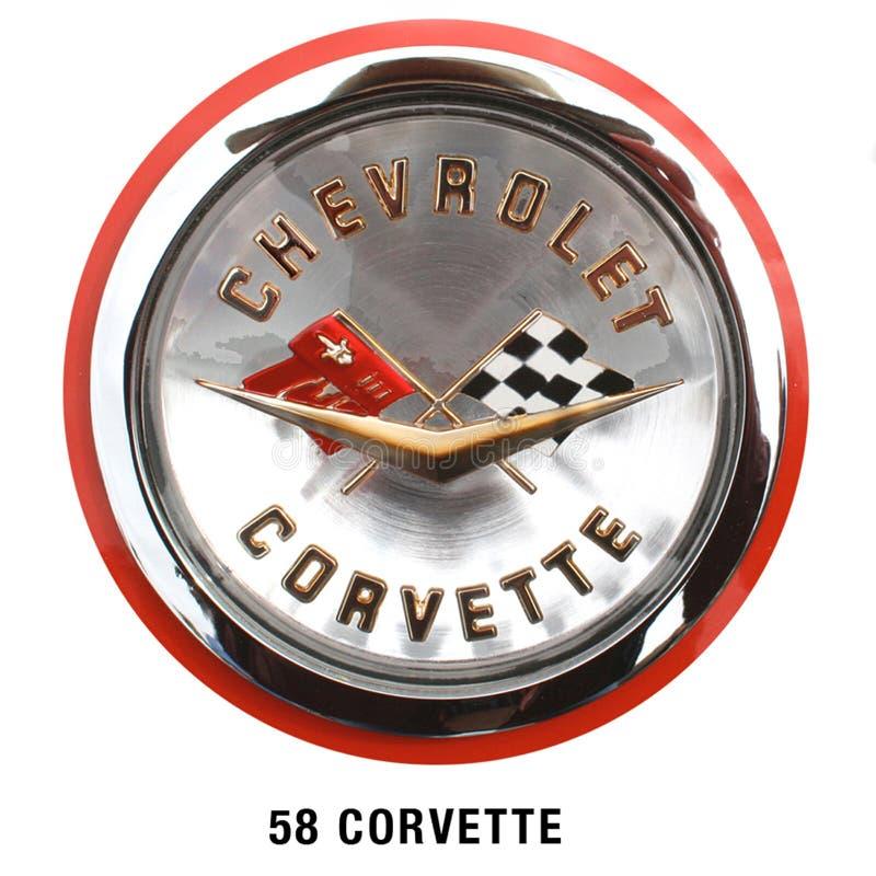 Chevrolet korwety kapiszonu Klasyczna odznaka 1958 zdjęcie royalty free