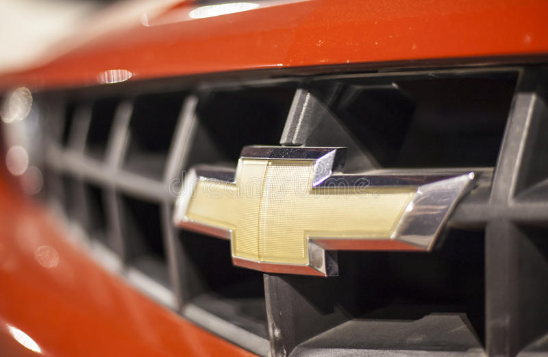 Chevrolet logo on a car stock photo