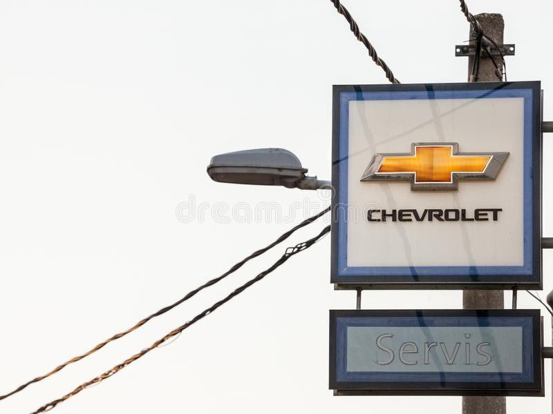 Chevrolet logo on their main dealership store Belgrade. Chevrolet, or Chevy, is an American car and automotive manufacturer stock photos